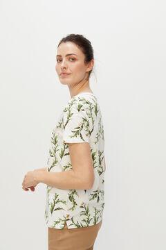 Cortefiel Cotton V-neck T-shirt Ecru