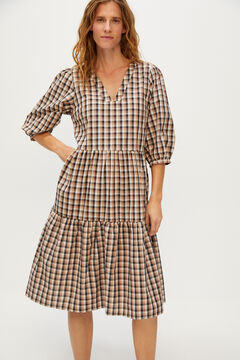 Cortefiel Midi checked dress Ecru