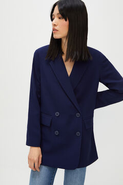 Cortefiel Fluid double-breasted blazer Navy