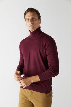 Cortefiel Cotton/cashmere polo neck jumper Fuchsia