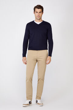 Cortefiel Plain slim fit chinos with elasticated waist  Camel