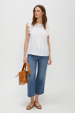 Cortefiel Lace flounce t-shirt White