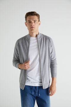 Cortefiel Cotton zipped cardigan with high neck Gray
