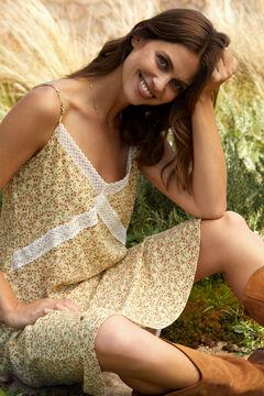 Cortefiel Vestido largo estampado Amarillo