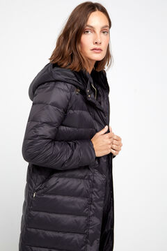 Cortefiel Long padded anorak Black