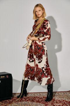 Cortefiel Printed dress Ecru