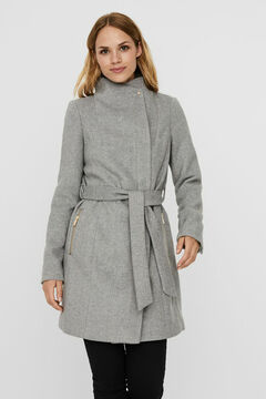 Cortefiel Sustainable double-breasted coat Gray