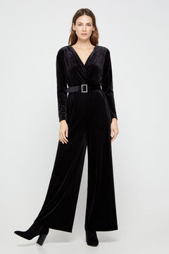 Cortefiel Jewel belt velvet jumpsuit Black