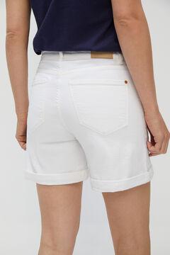 Cortefiel Basic denim shorts White