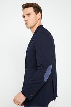 Cortefiel Textured jersey-knit blazer Navy
