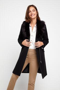 Cortefiel Faux fur wool coat Black