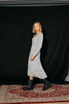 Cortefiel Textured midi dress Gray