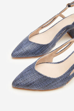 Cortefiel Raffia slingback shoe Navy