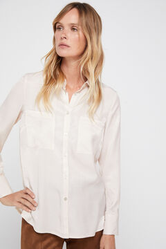 Cortefiel Silk feel shirt Ecru