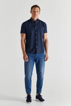 Cortefiel Checked organic cotton short-sleeved shirt Navy