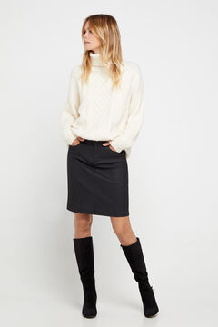 Cortefiel Coated skirt Black