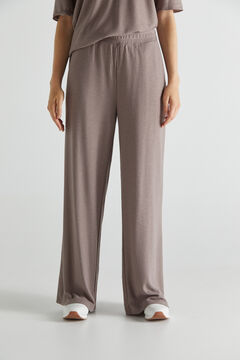 Cortefiel Printed jersey-knit trousers Brown