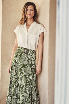 Cortefiel Printed midi skirt Green