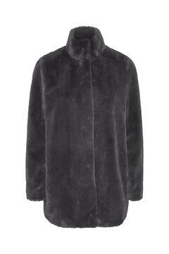 Cortefiel Faux fur coat Gray