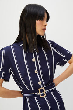 Cortefiel Striped shirt dress Blue