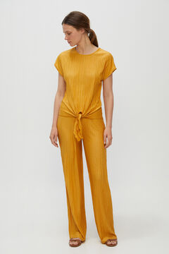 Cortefiel Trousers in jersey-knit fabric with a pleated effect Beige
