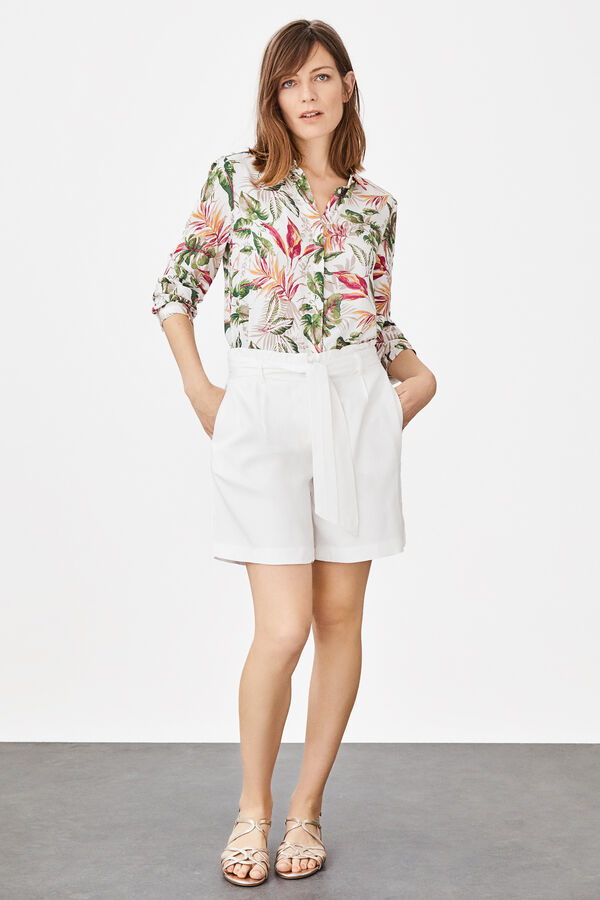 83382ed67 Cortefiel Bermuda shorts in floaty fabric White