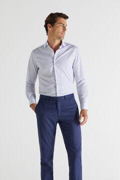 Cortefiel Printed slim fit stain resistant dress shirt Navy