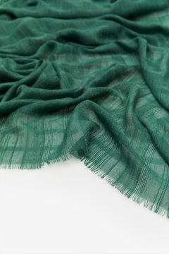 Cortefiel Lenço de seda textura riscas lúrex Verde