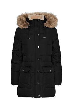 Cortefiel Abrigo de plumas largo con capucha Negro