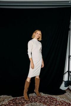 Cortefiel Ribbed jersey-knit dress Ecru