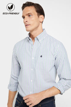 Cortefiel Organic cotton striped Oxford shirt Pistachio green
