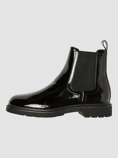 Cortefiel Patent Chelsea ankle boot  Black