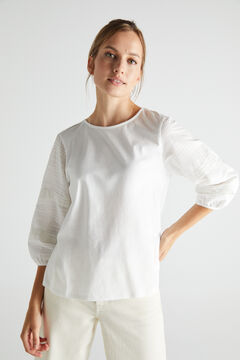 Cortefiel Lace detail T-shirt White