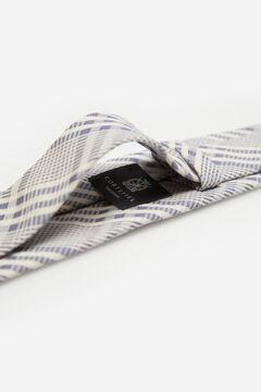 Cortefiel Prince of Wales check linen tie Stone