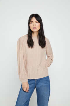 Cortefiel Jersey-knit textured top Mink