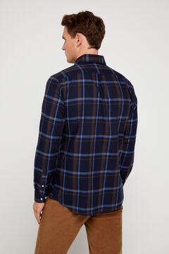 Cortefiel Casual checked organic cotton shirt Navy