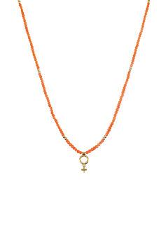 Cortefiel SUMMER short beaded necklace  Coral
