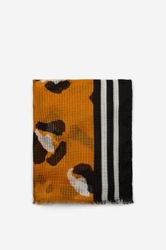 Cortefiel Fular estampado leopardo y rayas Amarillo