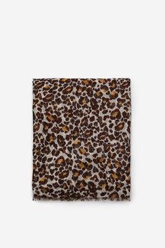 Cortefiel Lenço de seda estampado leopardo com riscas lúrex Marfim