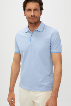 Cortefiel Oxford fabric short-sleeved polo shirt Blue