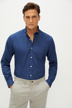 Cortefiel Plain slim shirt coolmax eco-made stretch Navy
