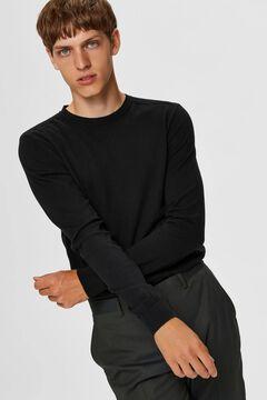 Cortefiel Classic organic cotton jumper  Black