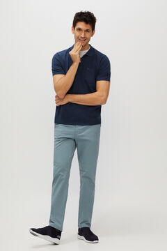 Cortefiel Essential micro print regular fit lightweight chinos Stone