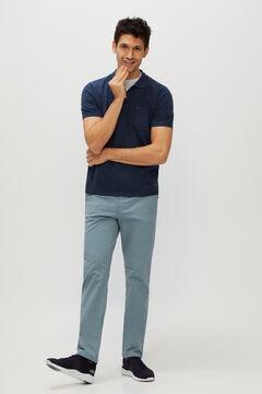 Cortefiel Pantalón chino básico microestampado regular fit ligero Azul