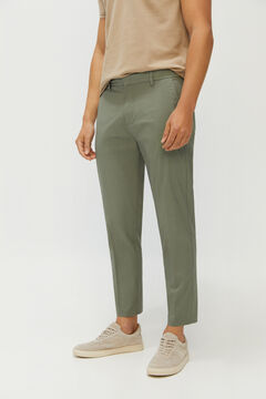Cortefiel Trousers with extra-comfort tapered elasticated waist Ecru