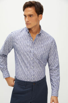 Cortefiel Printed shirt coolmax eco-made stretch Navy