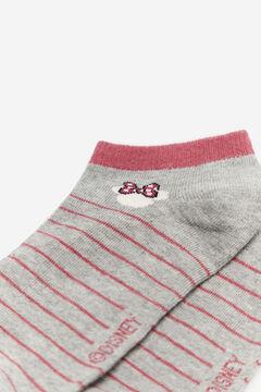 Cortefiel Striped socks with Minnie Mouse print Dark gray