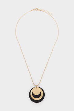 Cortefiel Short necklace with medallion Black