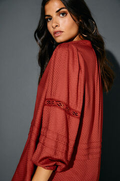 Cortefiel Lace dobby blouse Orange