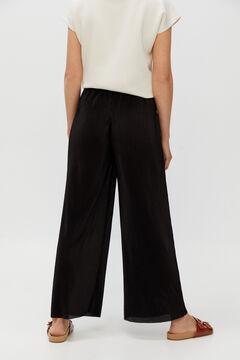Cortefiel Pleated cropped trousers Black
